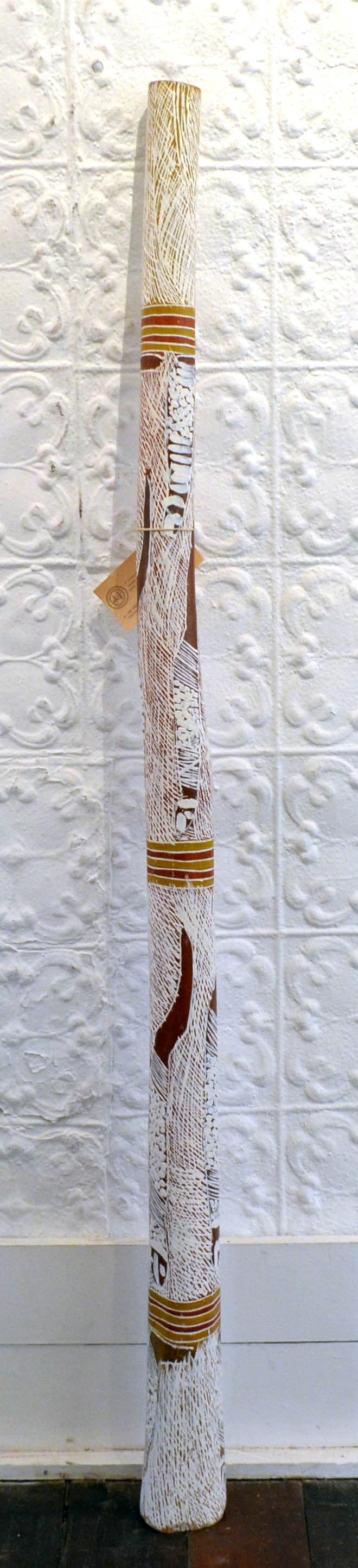 Nyapanyapa Yunupingu (Wendy) Yidaki natural earth pigment on wood 152 x 12 cm