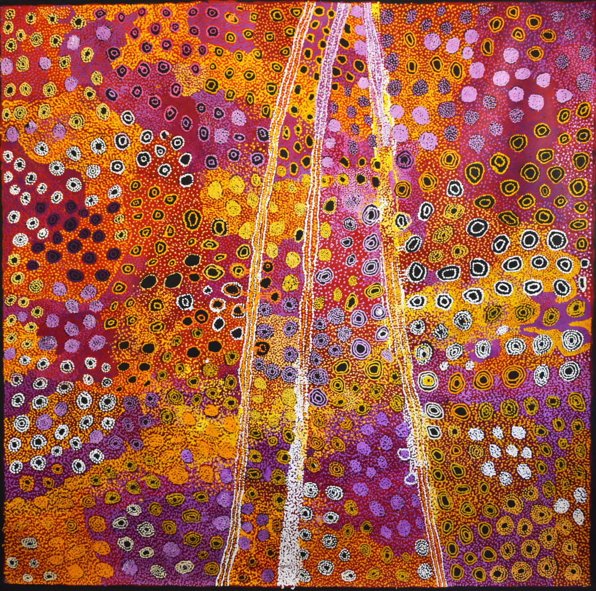 "Collaborative Work (TJALA) Seven Sisters Acrylic on Linen 197 x 198 cm (78x78"")"