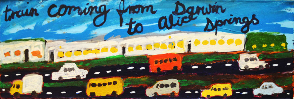 Sally M Mulda Train coming from Darwin acrylic on linen 30 x 90 cm