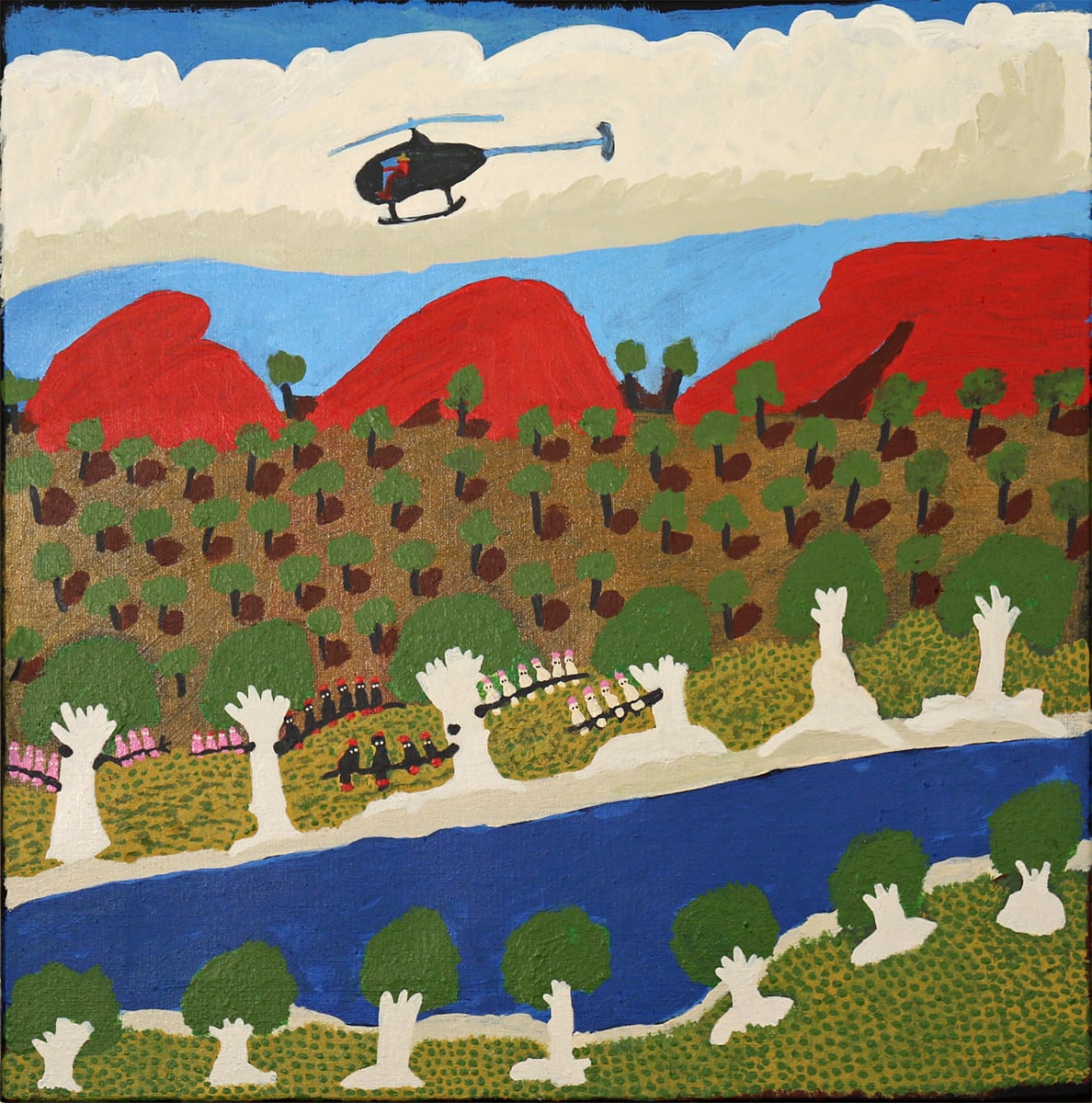 Grace Kemarre Robinya Helicopter looking for cattle, birds sit in tree acrylic on linen 55 x 55.5 cm