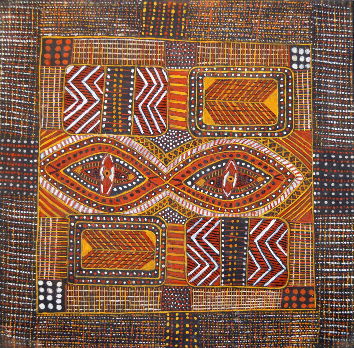 Pamela Brooks Parlini Jilamara (old design) natural ochres on canvas 60 x 60 cm