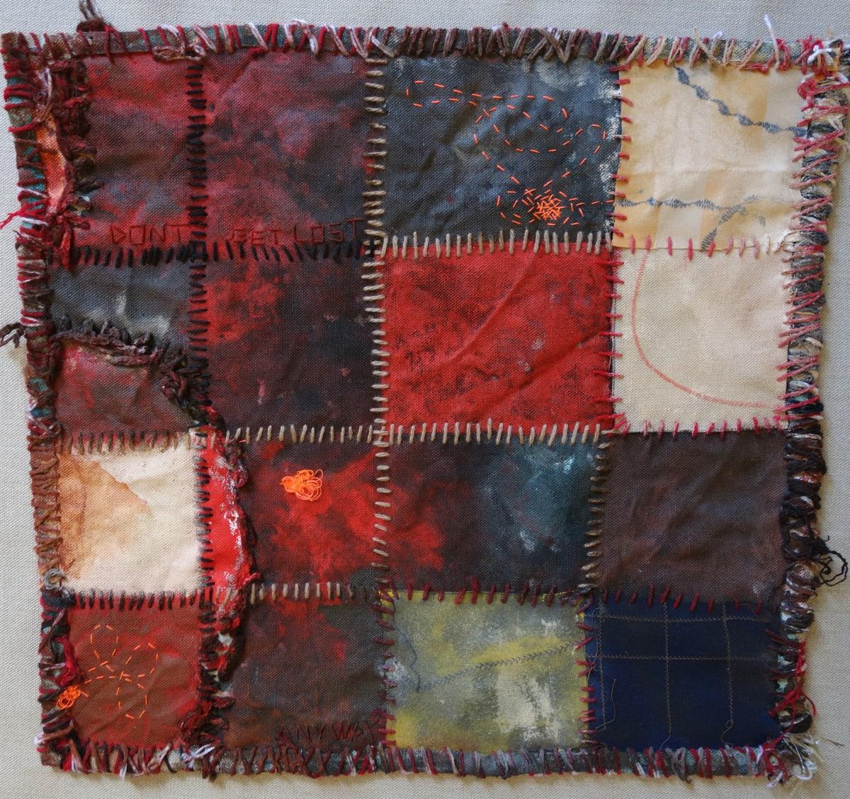 Stephen Eastaugh MUDMAPS 5 (Don't get lost anyway) Broome acrylic, thread, linen 45 x 45 cm