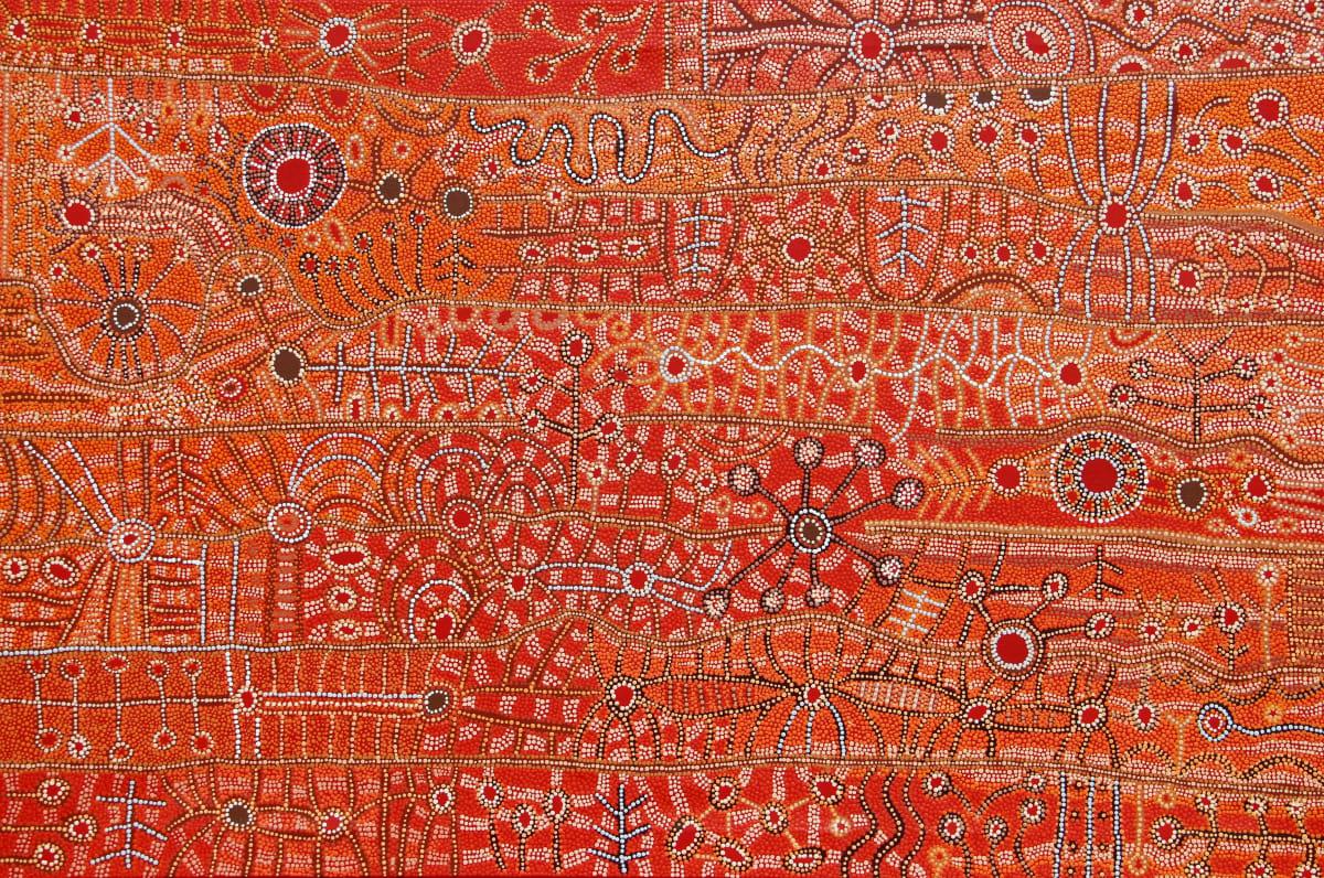Julie Yatjitja Ngura (Country) acrylic on linen 112 x 167 cm