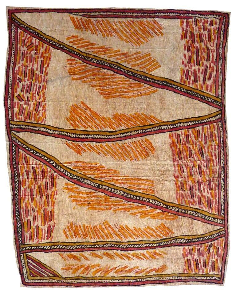 Fate Savari Uborida jowo tahgwe ohu'o isairov'e hore hitahi'e (sabu deje, ije biweje, mi'ija'ahe ohu'o bub) natural pigments on nioge (barkcloth) 94 x 78 cm