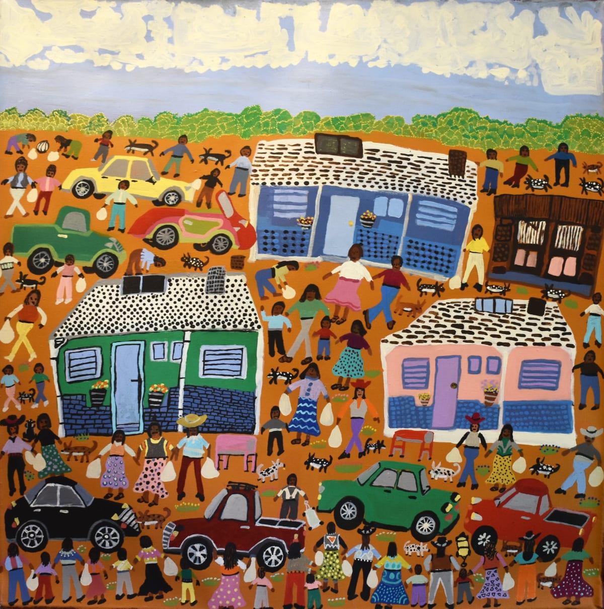 Doris Thomas Pension Day/Titjikala, 2019 Acrylic on Linen 90 x 90 cm