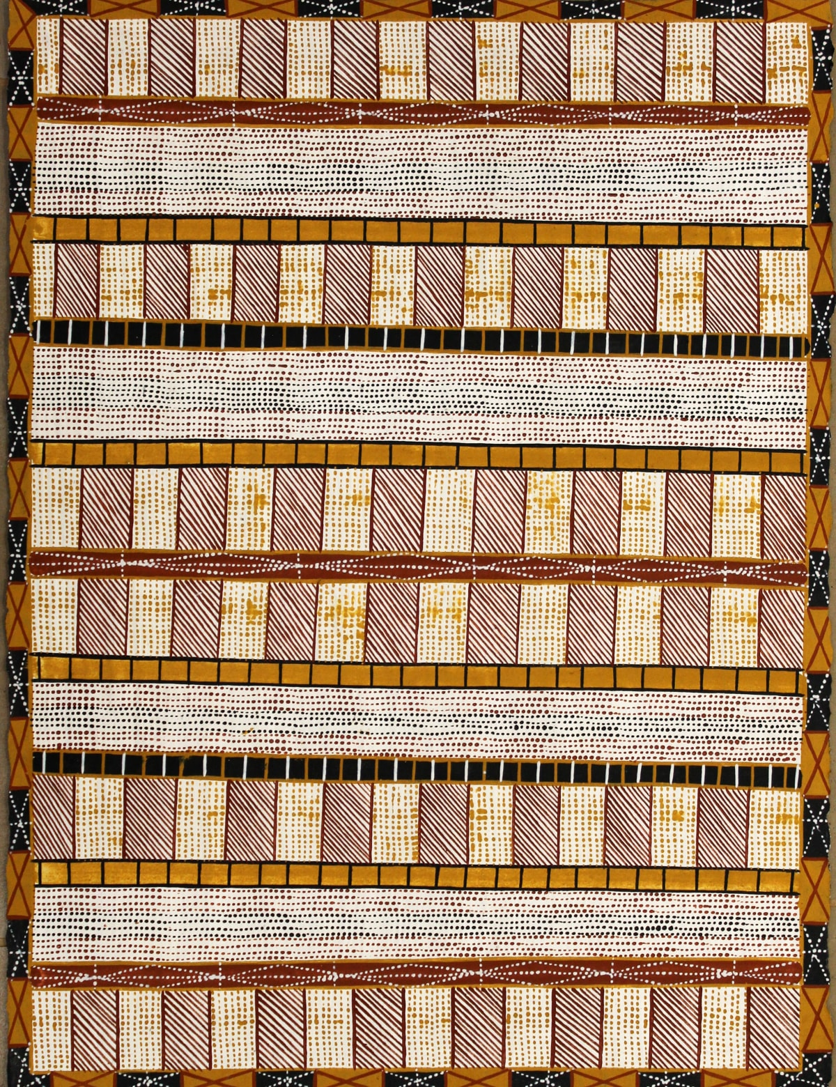 Pedro Wonaeamirri Jilamara ochre on paper 56 x 76 cm