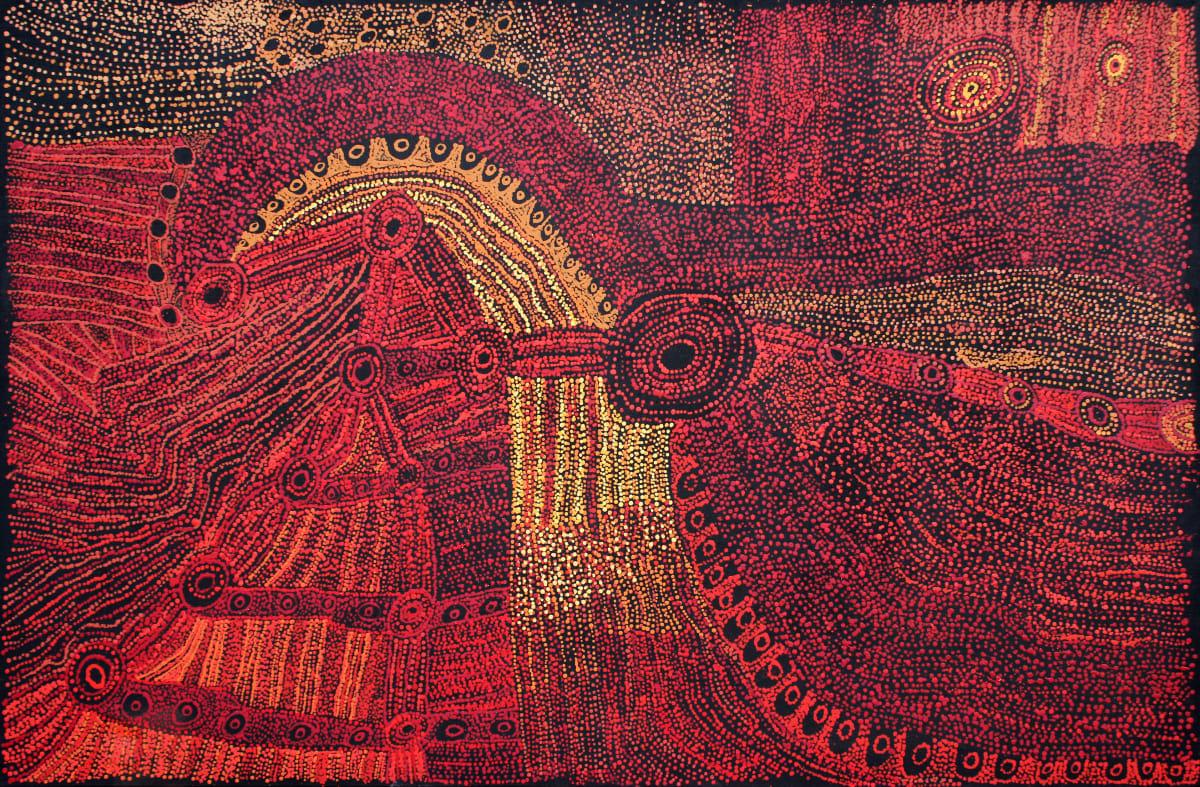 Judy Martin Ngaykuku Tjamuku Ngura (My father's country) acrylic on linen 120 x 180 cm