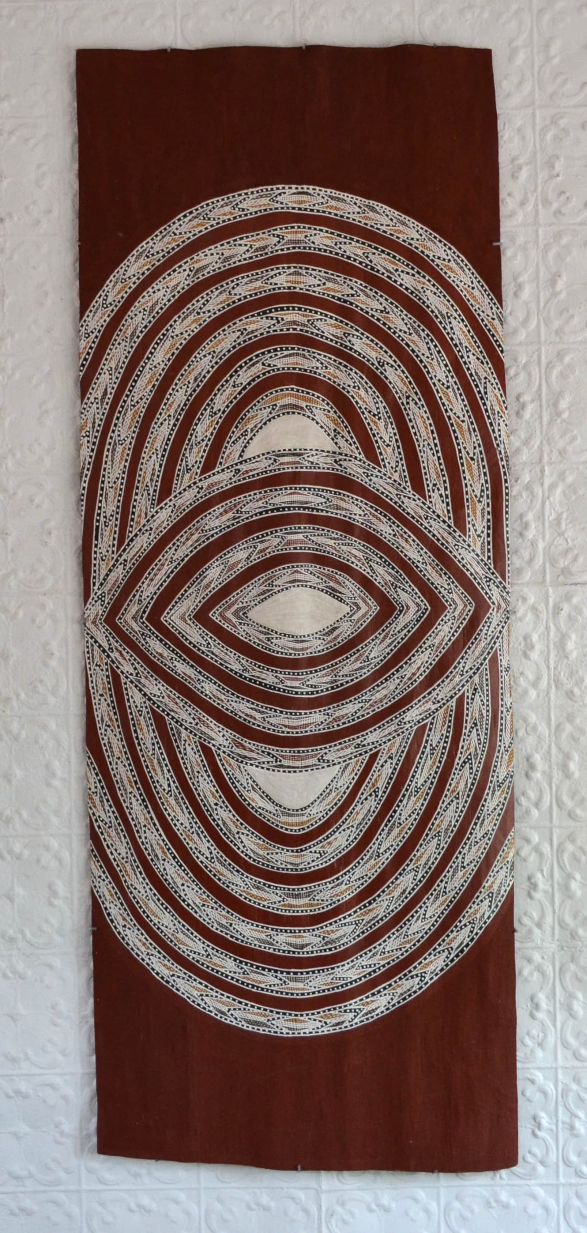 Ralwurrandji Wanambi Bamurrungu incised bark with sand and earth pigments 190 x 73 cm
