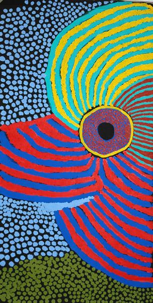 Margaret Baragurra Winpa acrylic on linen 120 x 60 cm