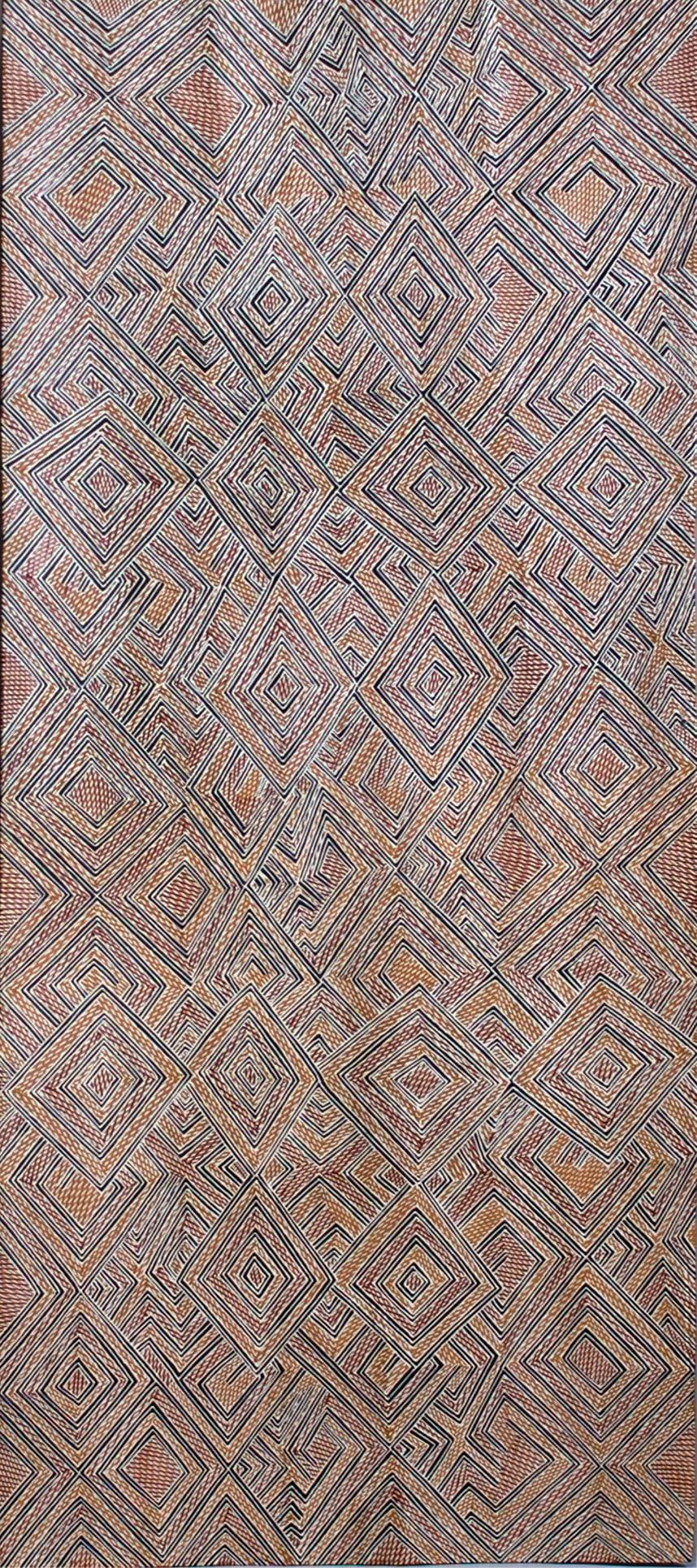 Garawan Wanambi Marranu Miny'tji natural earth pigment on bark 53 x 118 cm