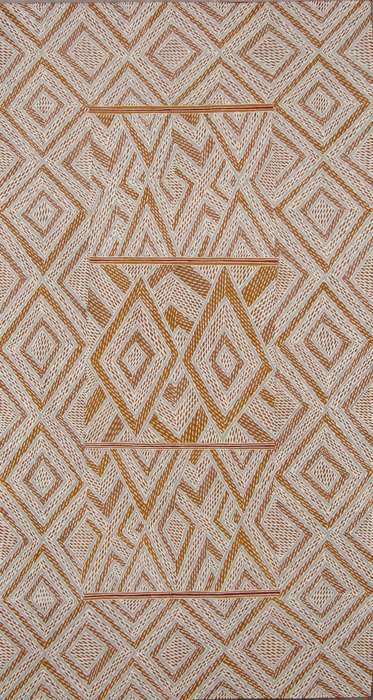 Garawan Wanambi Marrangu natural earth pigment on bark 102 x 54 cm