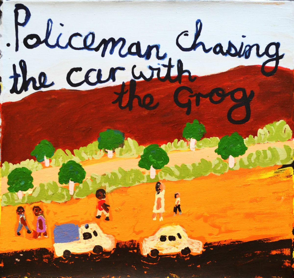 Sally M Mulda Policemen Chasing... acrylic on linen 56 x 59 cm