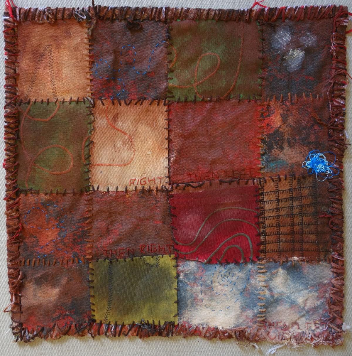 Stephen Eastaugh MUDMAPS 4 (Right then left then right then left) Broome acrylic, thread, linen 45 x 45 cm
