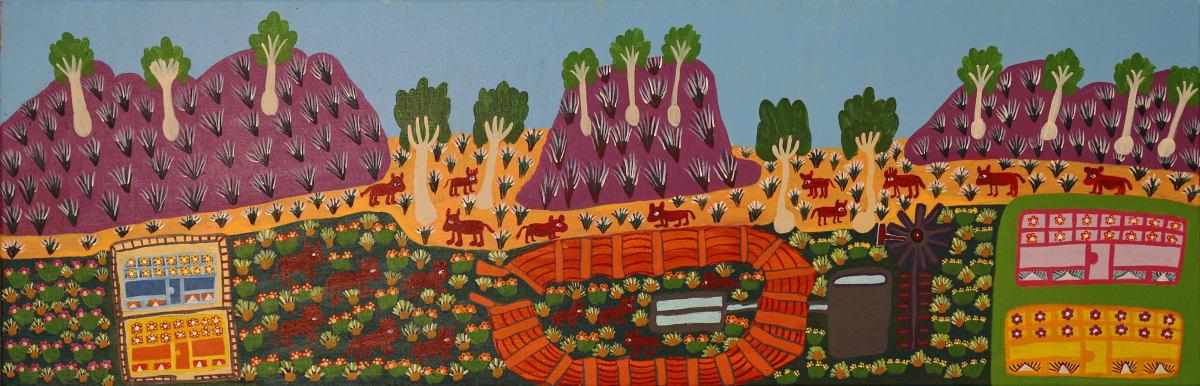 Margaret Kunmanara Nampitjinpa Boko M'Bunghara on Glen Helen Station acrylic on linen 39.5 x 119.5 cm