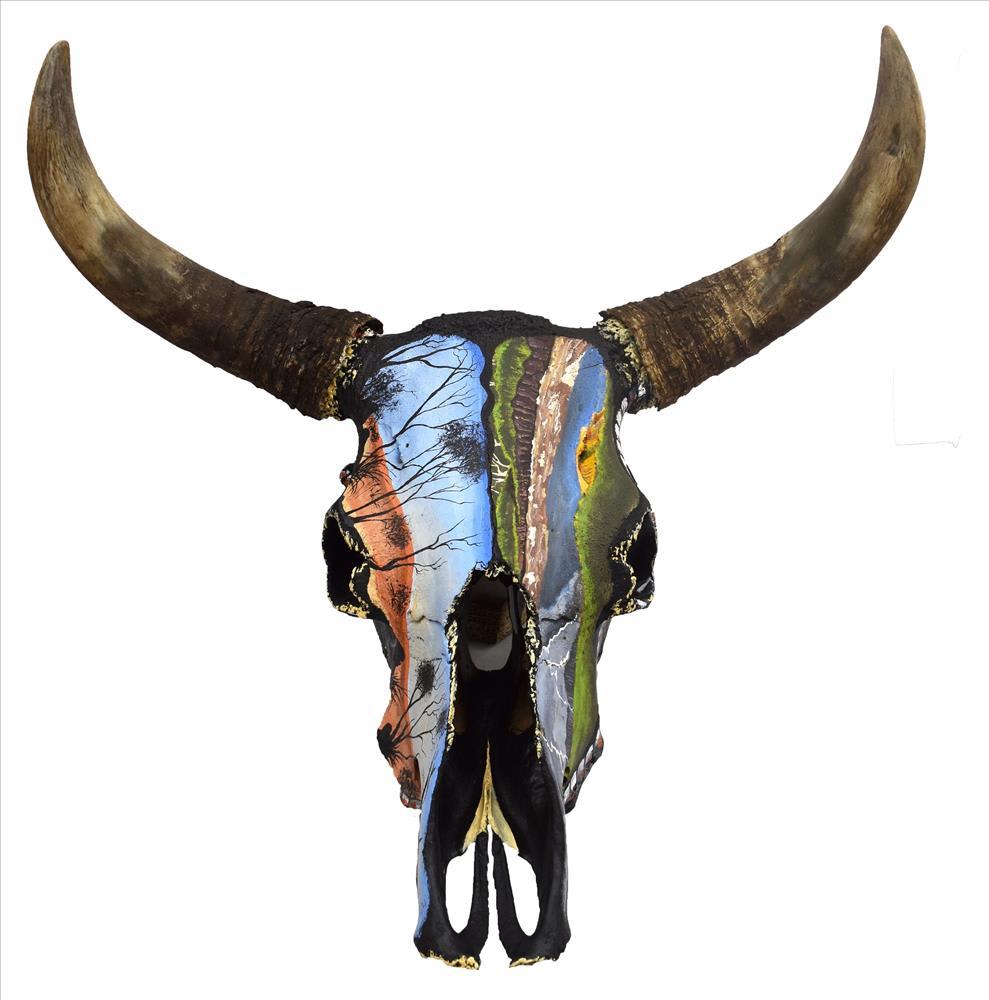 Hozaus Claire Bidaliji Bullock Head, 2019 Painted bullock head 41 x 65 x 53 cm