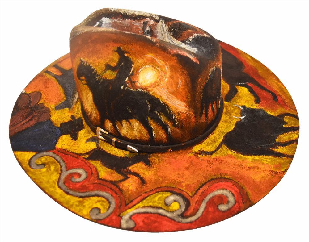 Mervyn Street Station Day Story, 2019 Painted felt Akubra hat 38 x 42 x 16 cm
