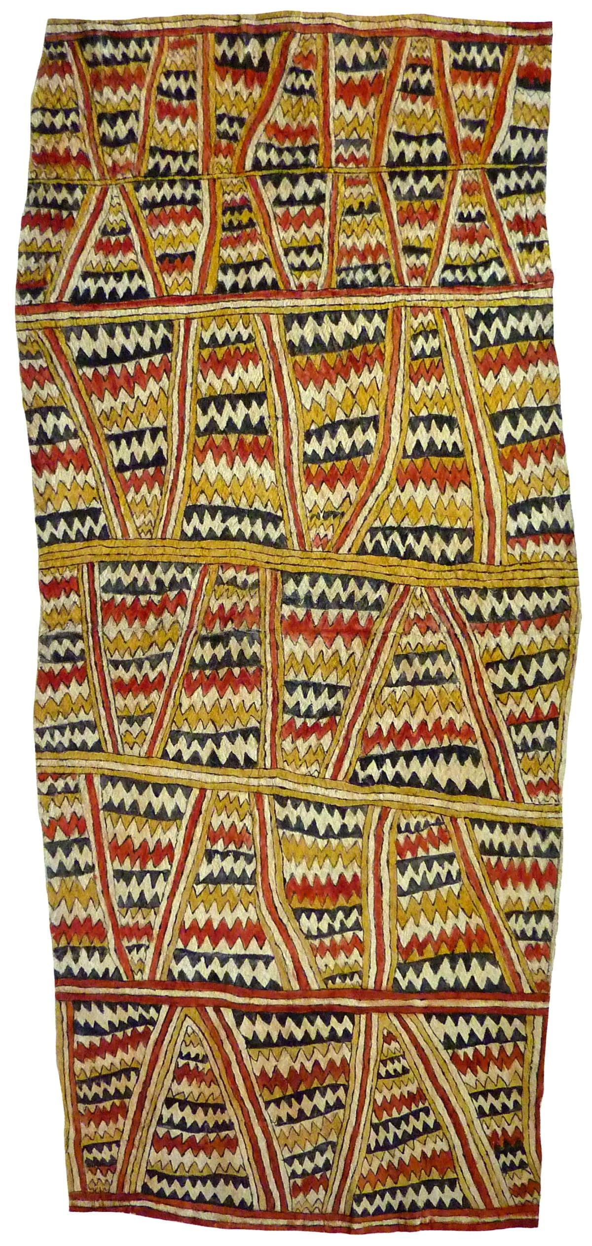 Aspasia Gadai (Yewo) Dahoru'e ohu'o buborianoo'e natural pigments on nioge (barkcloth) 143 x 63 cm