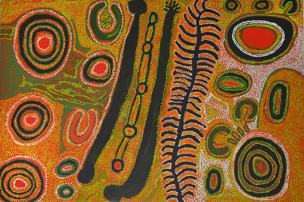 Iyawi Wikilyiri Kaliny-kalinypa acrylic on linen 100 x 150 cm