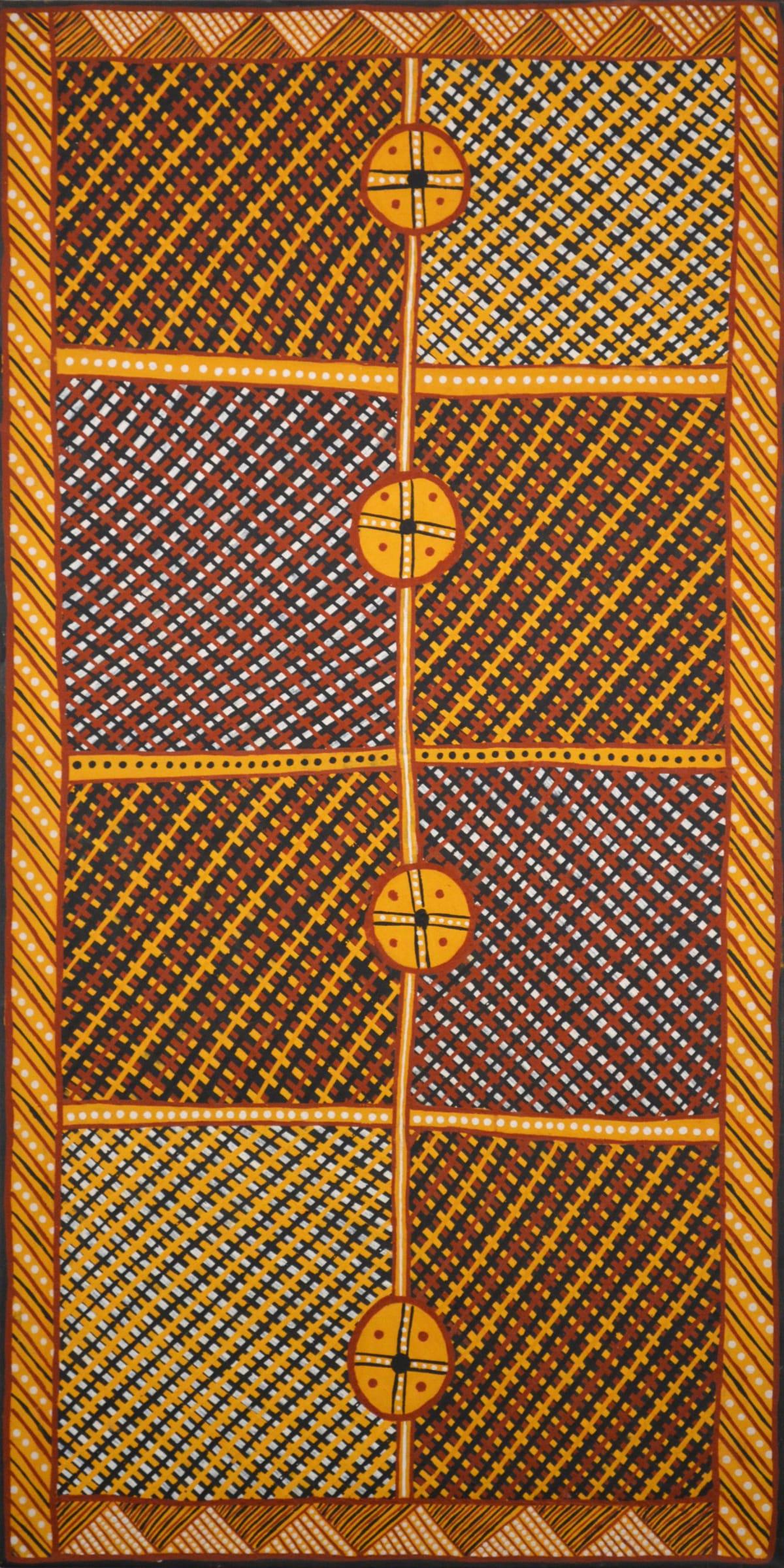 Raymond Bush Jilamara ochre on canvas 120 x 60 cm