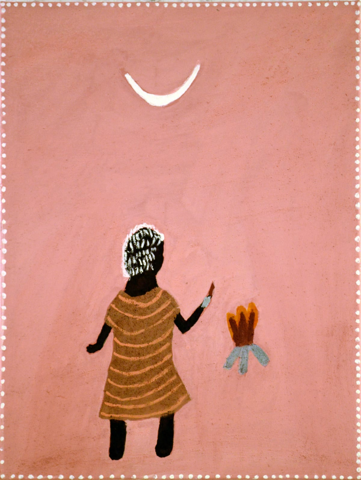 Betty Carrington Burning of the moon natural ochre and pigments on canvas 80 x 60 cm
