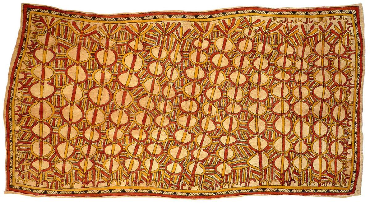 Linda-Grace Savari (Majare) Mahudanö'e, mahu ane bios'e, hin'e baje ohu'o nyoni han'e natural pigments on nioge (barkcloth) 149 x 82 cm