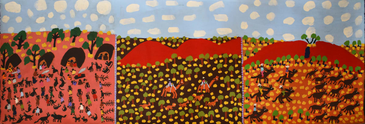 Grace Kemarre Robinya Three Coniston Stories,Olden Times, 2109 Acrylic on linen 39.5 x 121.2 cm