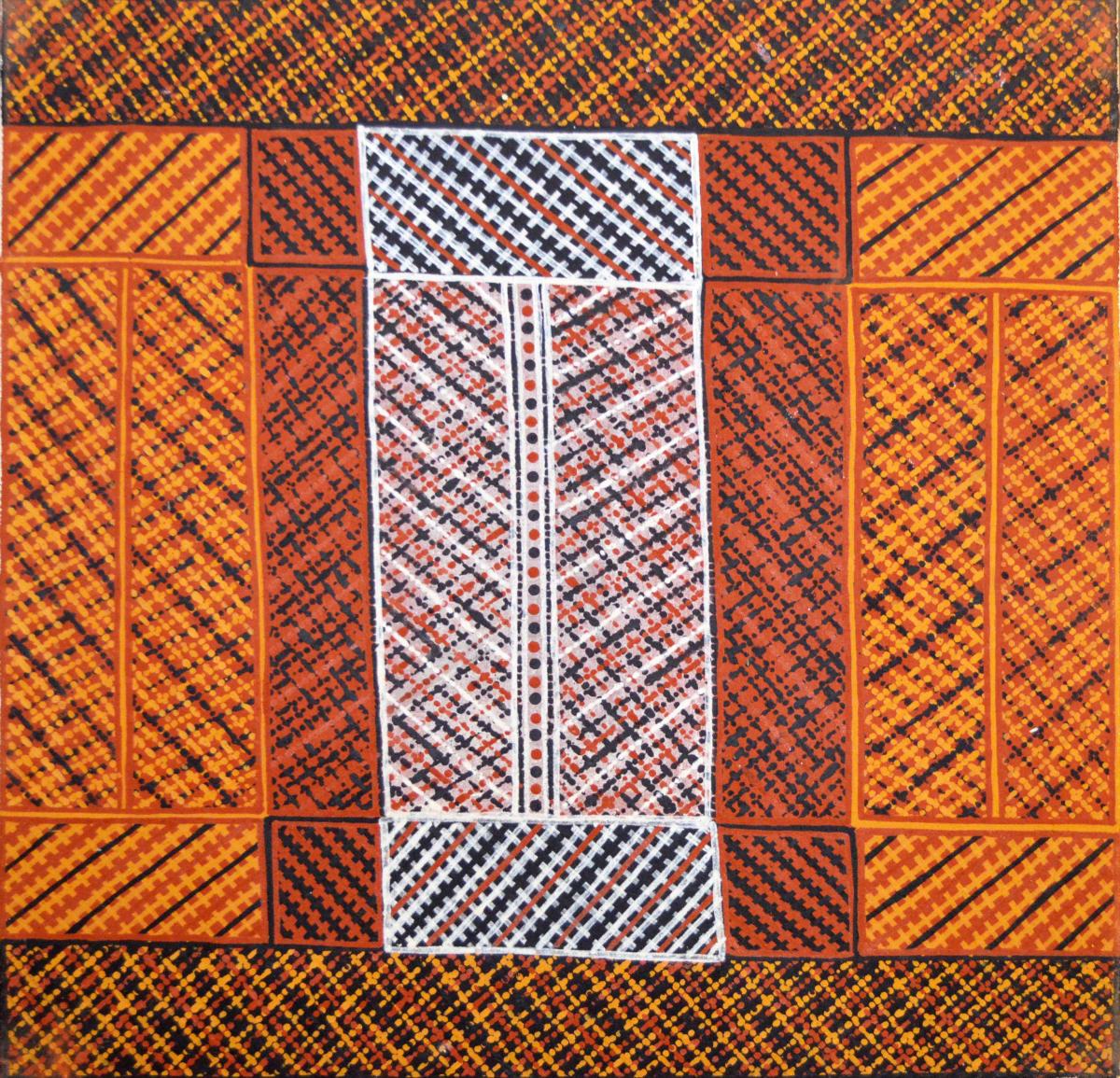 Geraldine Francine Pilakui Ngiya Jilamara II natural ochres on canvas 60 x 60 cm