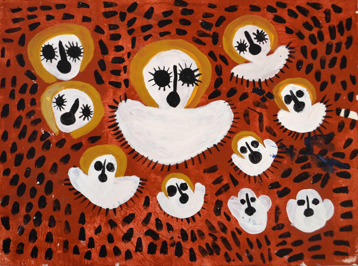 Mabel King Wandjina acrylic on paper 57 x 75.5 cm
