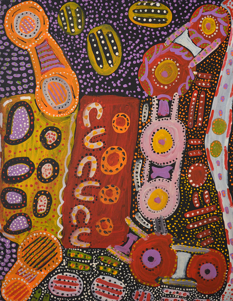 Jimmy Pompey Ngayuku Ngura- My 1 Country, acrylic on linen 94 x 72 cm