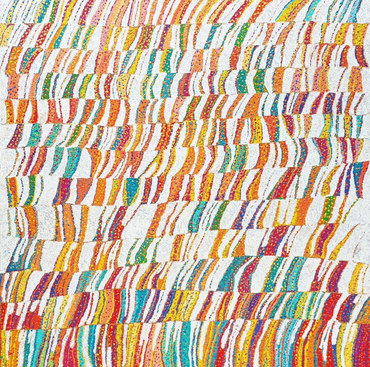 Daniel Walbidi Kirriwirri acrylic on linen 106 x 106 cm