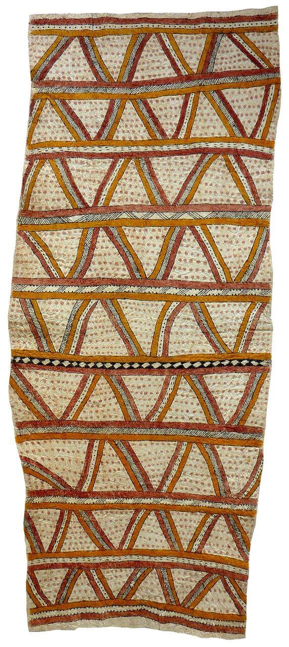 Celestine Warina Dahoru'e (siha'e, udane une, sabu'ahe ohu'o cobbure jo'o si'o si'o ve'e natural pigments on nioge (barkcloth) 142 x 59 cm