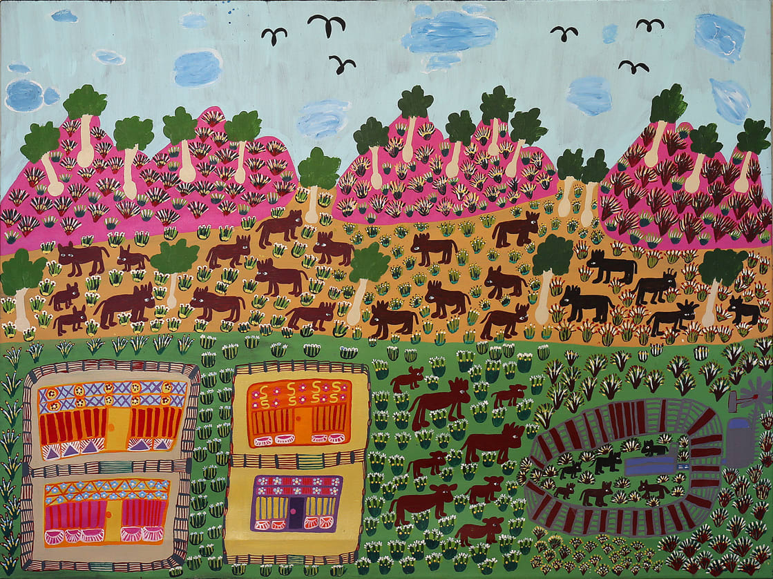 Margaret Kunmanara Nampitjinpa Boko That's my Country acrylic on linen 90.5 x 120 cm