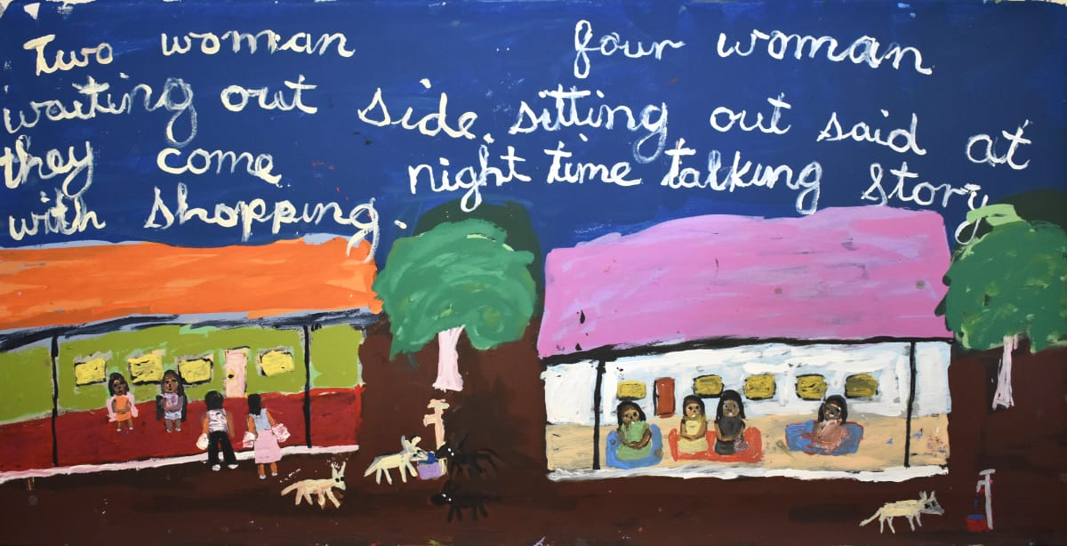 Sally M Mulda Two women waiting outside, four women sitting acrylic on linen 61.2 x 122 cm