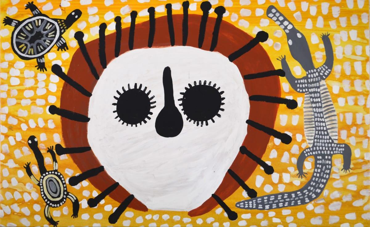 Mabel King Wandjina & Unguds acrylic on canvas 109 x 176 cm