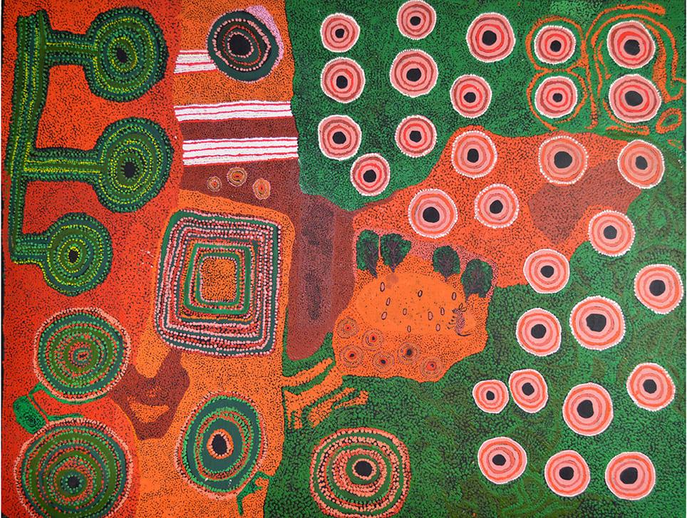 Ginger Wikilyiri and Iyawi Wikilyiri Arutju acrylic on linen 150 x 200 cm