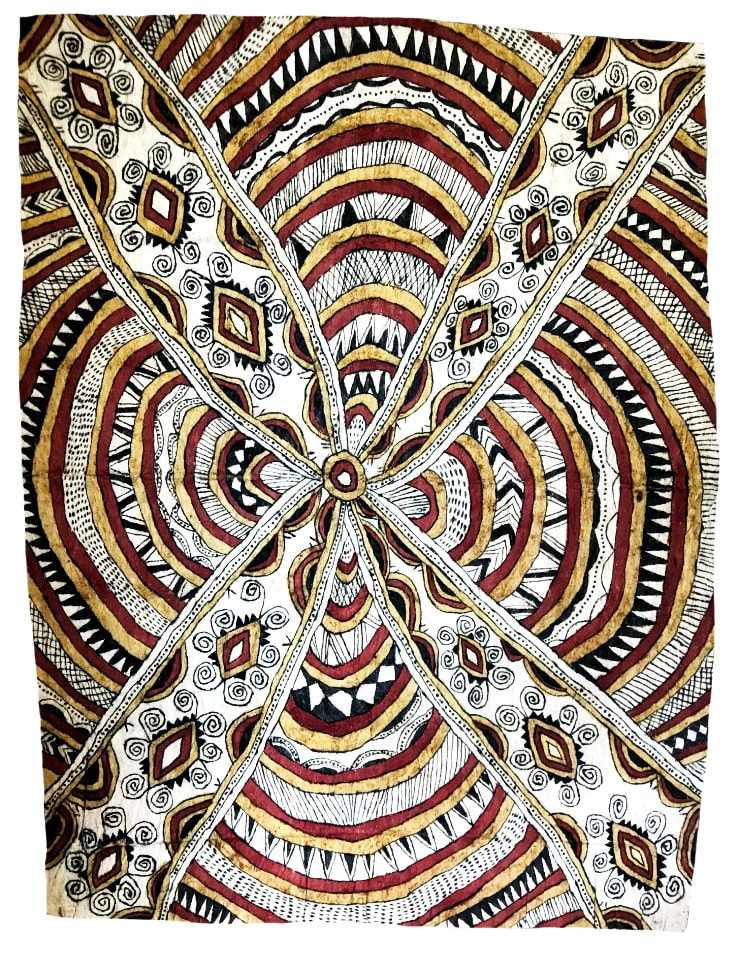 Ilma Savari (Ajikum'e) Vaigu der'e natural pigments on nioge (barkcloth) 96 x 73 cm