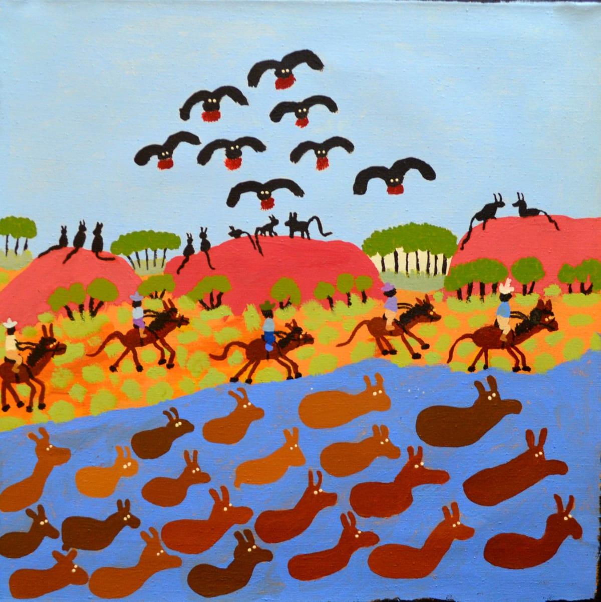 Grace Kemarre Robinya Mustering Cattle acrylic on linen 56 x 56.3 cm