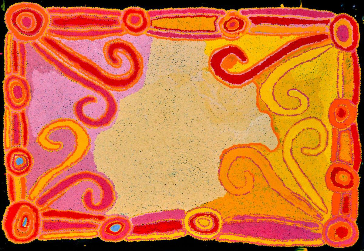Puntjina Monica Watson Pukara acrylic on linen 61 x 91 cm