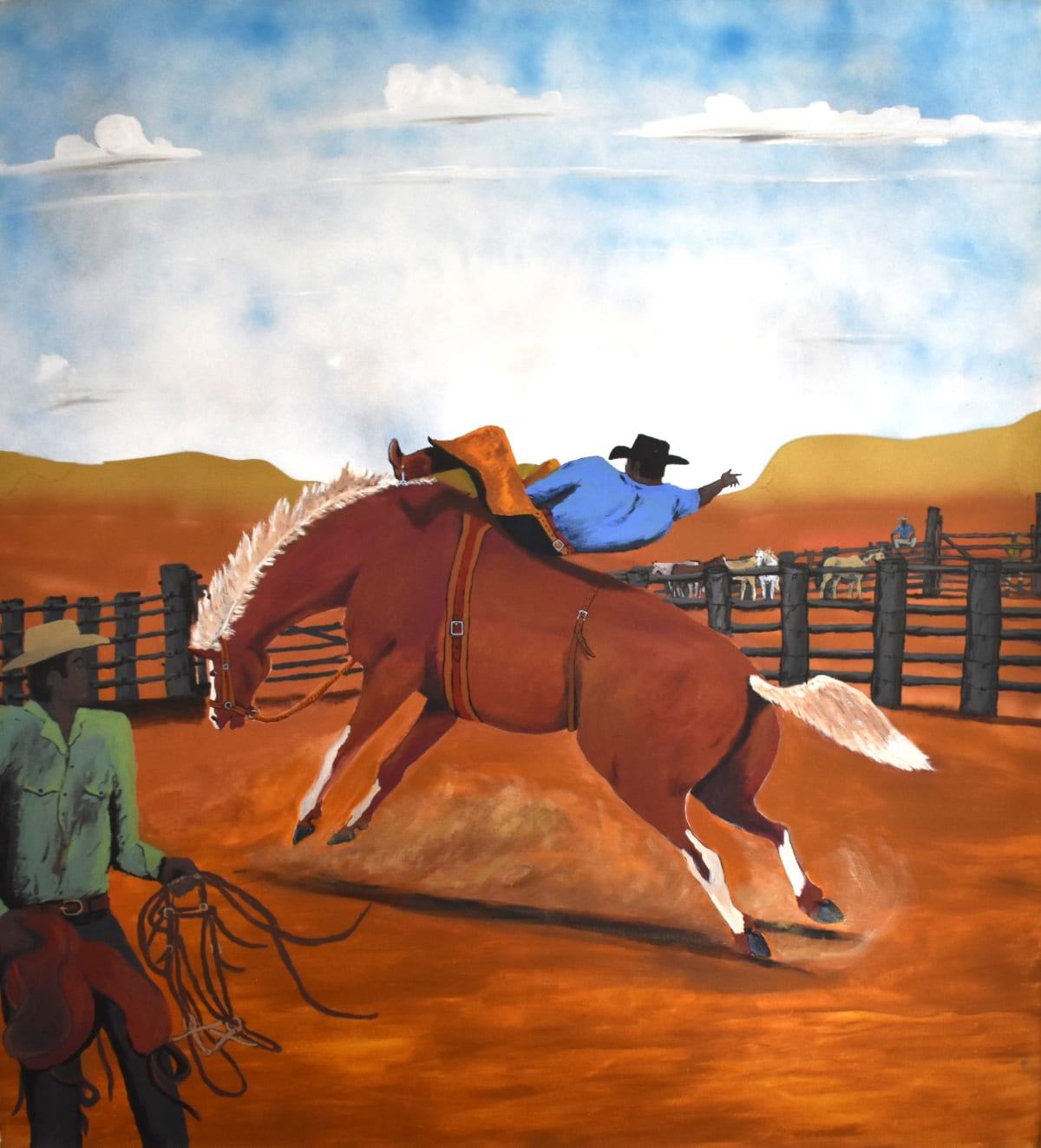 Mervyn Street The young men nominate to ride in the Saddle Bronc event, 2016 Acrylic on canvas 133 x 121 cm