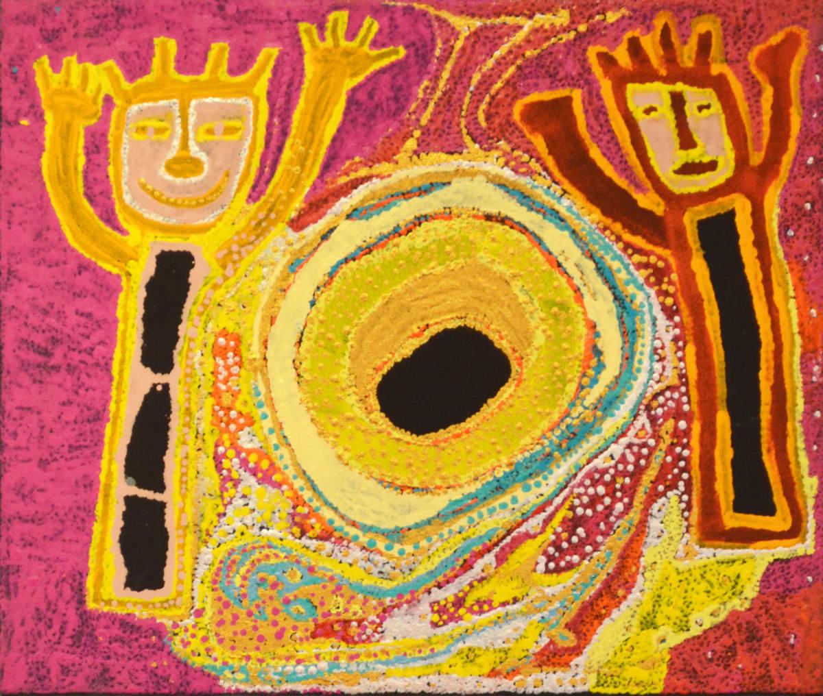 Daniel Walbidi Martakulu jila acrylic on canvas 44 x 46 cm