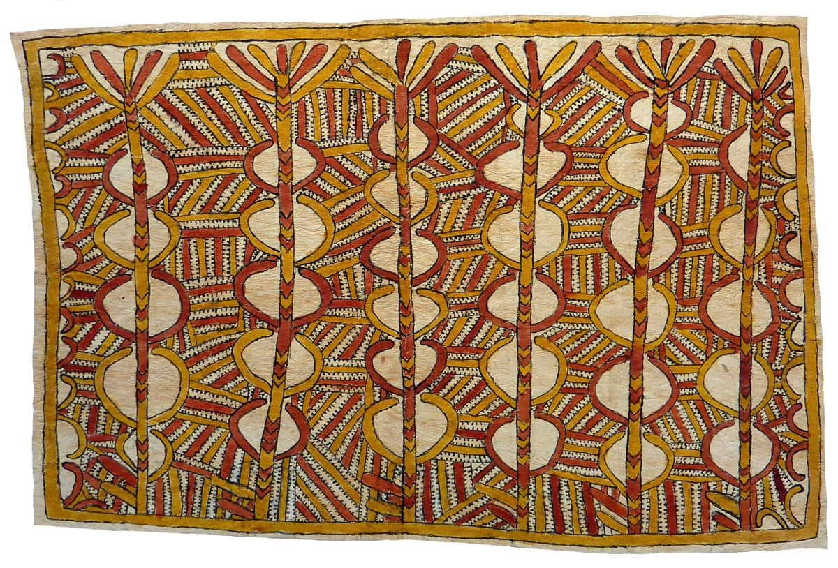 Linda-Grace Savari (Majare) Mahudanoo'ee, mahu ane bios'e, hin'e baje ohu'o nyoni han'e. natural pigments on nioge (barkcloth) 75 x 51 cm