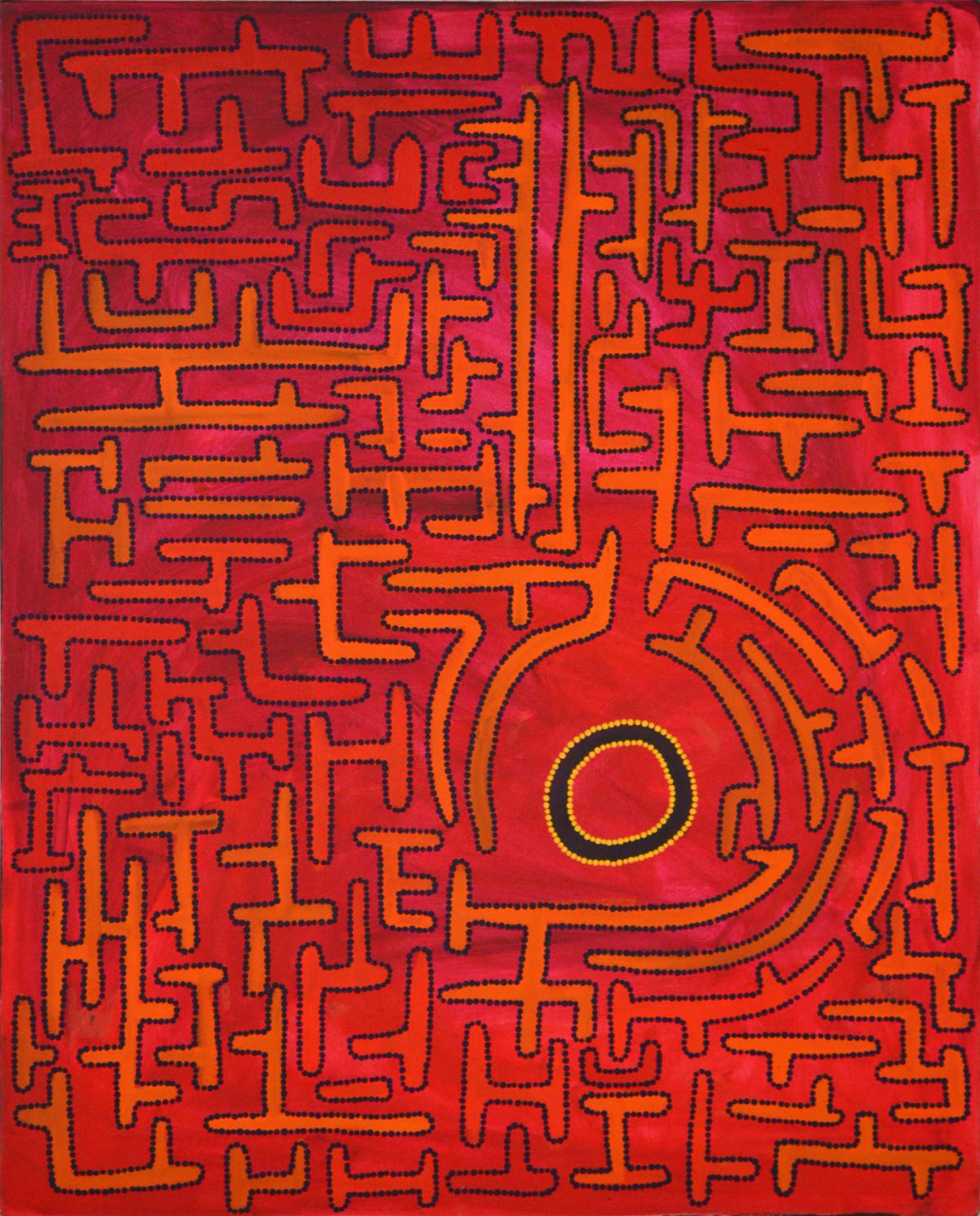 Terry Murray (Murungkurr) Japirnka Jila acrylic on canvas 80 x 100 cm