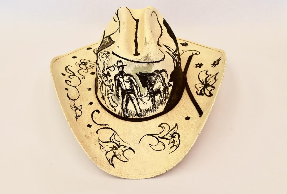 Mervyn Street Painted Akubra hat 34 x 40 x 16 cm
