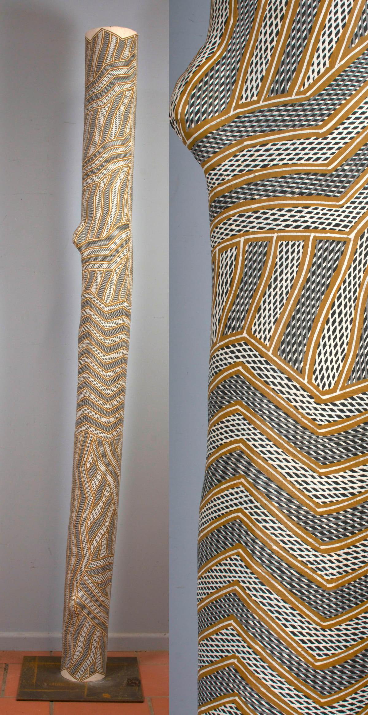 Manini Gumana Garraparra Larrakitj Ochre on wood 211 cm