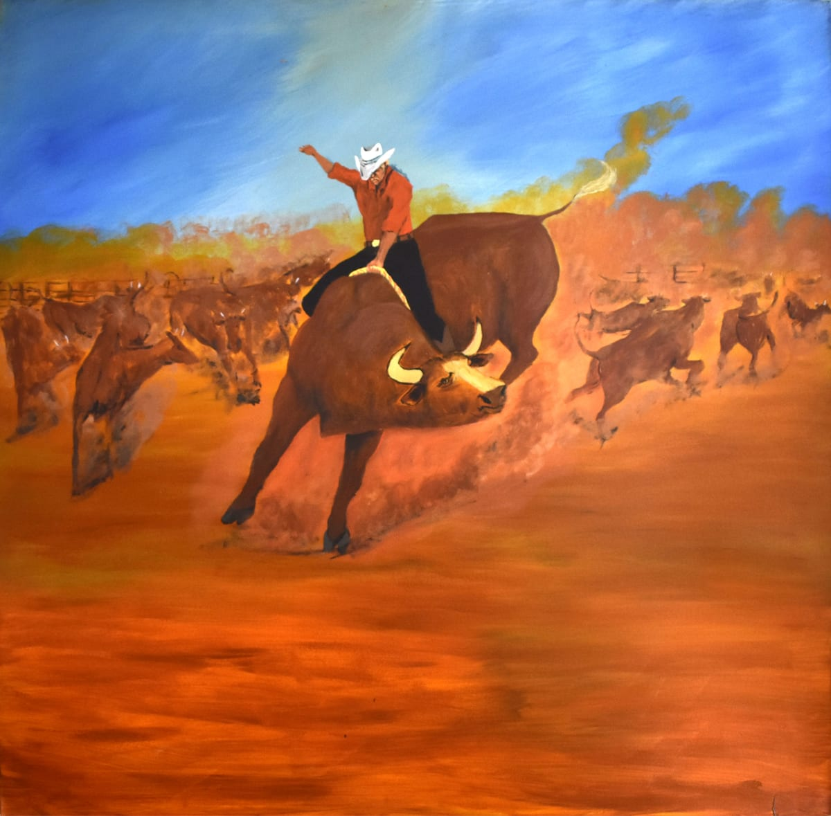 Mervyn Street Ride the Bull, 2018 Acrylic on canvas 118 x 120 cm