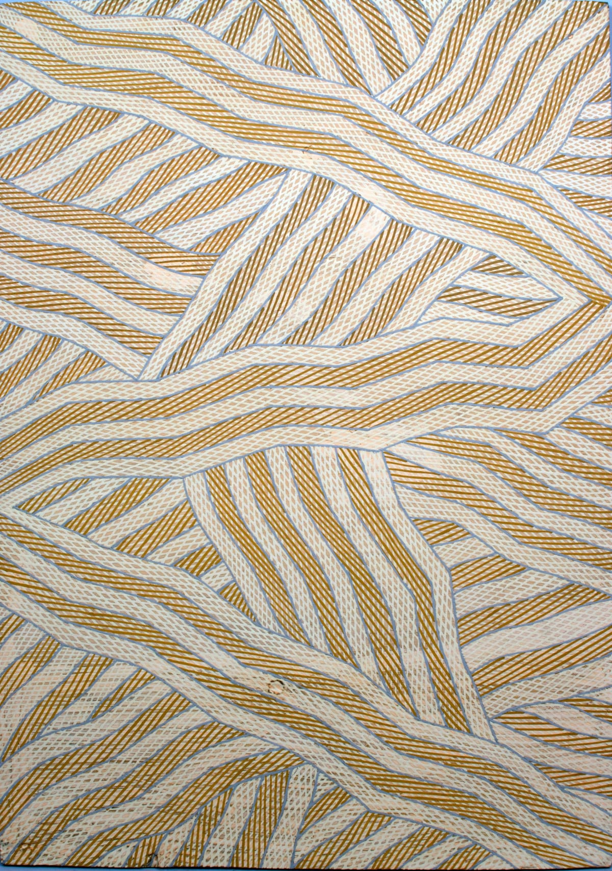 Manini Gumana Garraparra natural ochre and pigment on plywood 52 x 75 cm