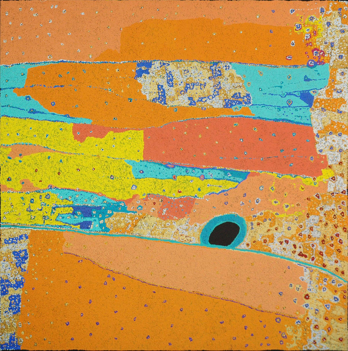 Daniel Walbidi Kirriwirri & Kulyakartu acrylic on linen 121.5 x 120 cm