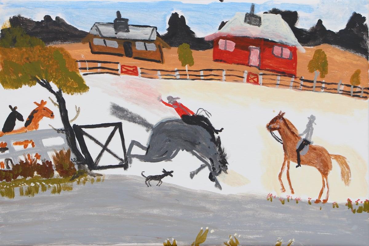 Jimmy Pompey Cowboy Story acrylic on canvas 51 x 76 cm