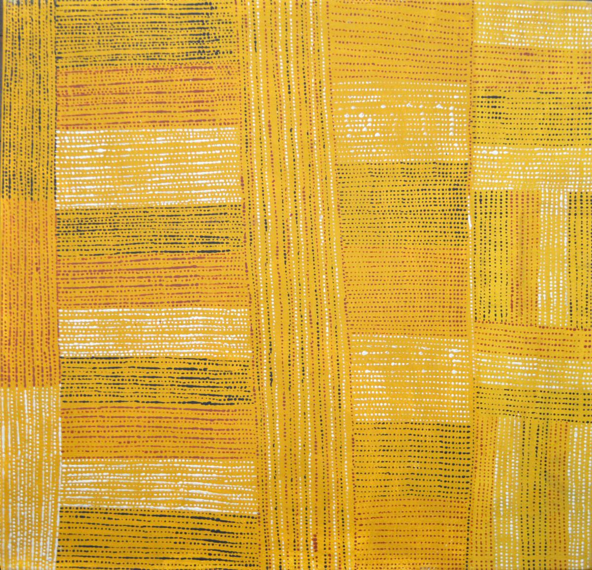 Agatina Black Jilamara natural ochres on canvas 70 x 70 cm