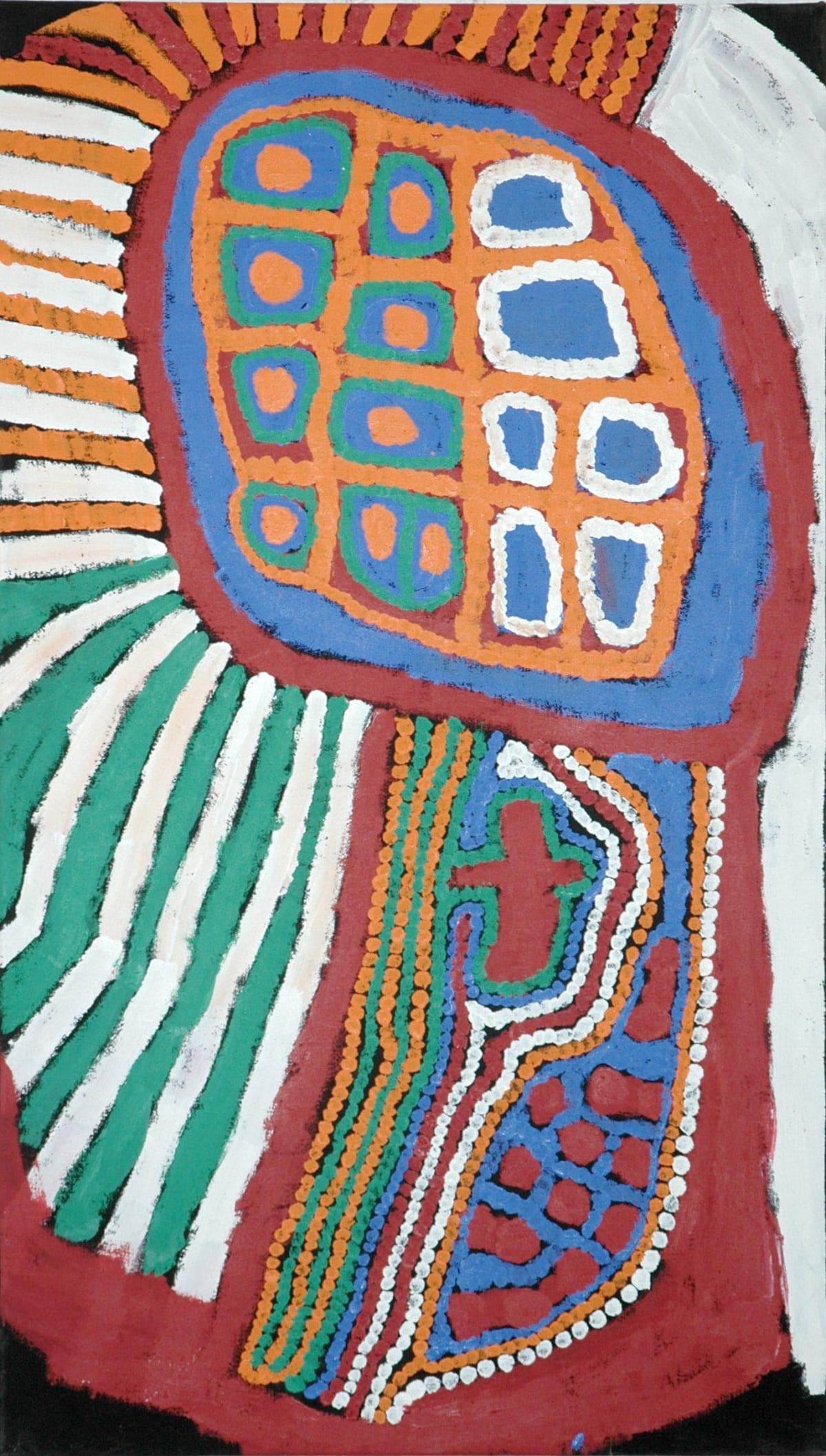 Weaver Jack Lungarung acrylic on linen 106.5 x 60 cm